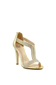 Gold Shimmer 'Varad' Ankle Strap High Heel
