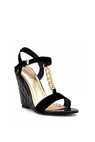 """Black """"Gorgy"""" Gold Chain Embellished Patent Leather Quilted Wedges"""