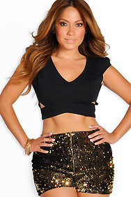 Black Cross-Body Cutout Crop Top