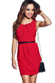 Necessary Red Simple Wide Strap Belted Dress
