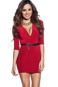 Snazzy Red Fitted Half Sleeve Dress with Belt