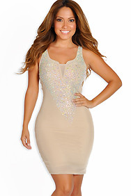 Sexy Nude Rhinestone Embellished Diva Dress