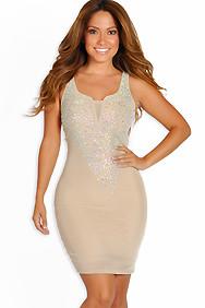 Sexy Nude Rhinestone Embellished Diva Dress