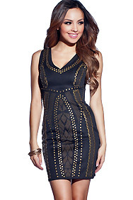 Sexy Studded Black and Bronze Native Dress
