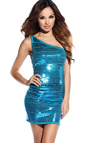 Aqua Mermaid One Shoulder Sleeveless Sequins Dress