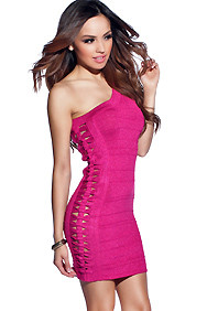 Fuchsia Shimmer One Shoulder Showstopping Cut Out Dress