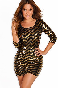 Gold and Black ZigZag Sequin Half-Sleeve Party Dress