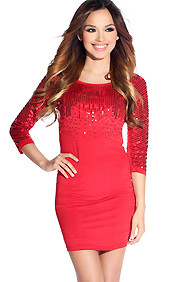 Red Hot Sequins Half Sleeve Party Dress