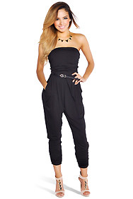 Black Ruched Drapey Jumpsuit with Pockets