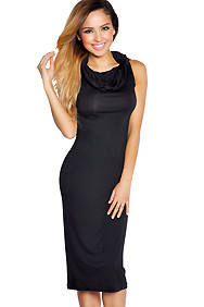 Black Round Drape Neck Maxi Dress