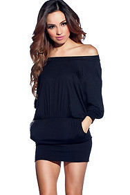 """Bianca"" Black Banded Bottom Dress with Pockets"