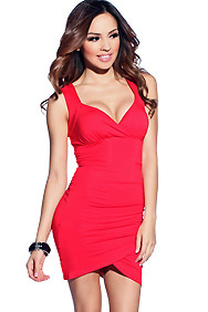 Sultry Red Wide Strap Lace and Ruched Party Dress