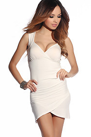 Divine Off-White Wide Strap Lace and Ruched Party Dress