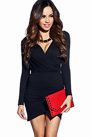 Chic Cross-Over Long Sleeve Party Dress