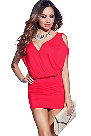 Simple Solid Red V-Neck Open-Shoulder Dress