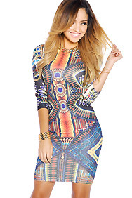 Multi-Colored Half-Sleeve Party Dress