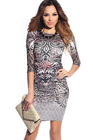 Dark Tribal Graphic Multi-Colored Dress