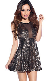 Sexy Gold Sequins Mesh Skater Dress