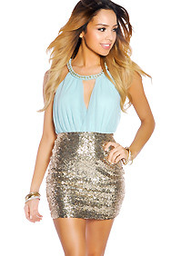 Tiffany Blue and Gold Sequin Party Dress with Chain Neck Wrap