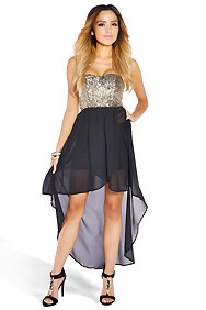 Black Chiffon High-Low Dress with Gold Sequins