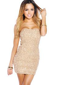 Golden Woven Textured Sparkle Tube Dress