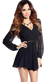 Bohemian Sheer Black Long Sleeve Mini Romper with Braided Belt