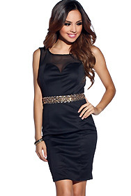 Sleek and Sexy Wide Strap Mesh Embellished Dress