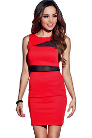 Lustrous Red Mesh Cutout Bodycon Dress