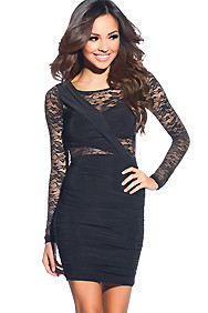 Sexy Black Long-Sleeve Lace Ruched Dress