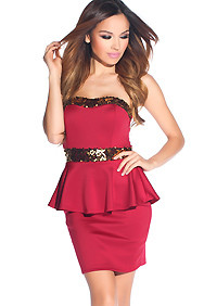 Sexy Dark Red Strapless Gold Sequin Peplum Dress