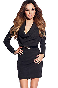 Comfy Black Sweater Dress with Designer Belt