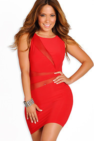 Sexy Red Rouge Sleeveless Mesh Cut-Out Dress