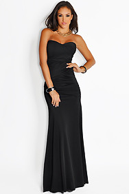 Sexy Elegant Black Ruched Top Maxi Gown