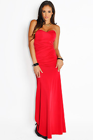Sexy Elegant Red Ruched Top Maxi Gown