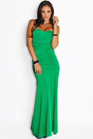Sexy Elegant Green Ruched Top Maxi Gown