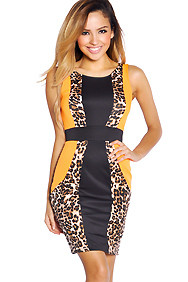 Sexy Neon Orange and Brown Leopard Panel Dress