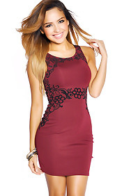 Burgundy Fitted Dress with Floral Design
