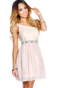 Pastel Pink Embellished One Shoulder Chiffon Dress