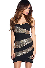 Black Stripe Gold Sequins Dress