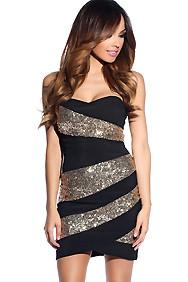 Black Stripe Gold Sequins Dress