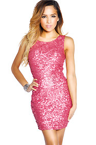 Thulian Pink Sequins Round Neck Party Dress