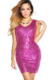 Fuchsia and Purple Sequins V-Neck Mini Party Dress