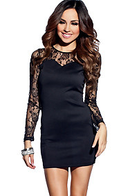 Sexy Sultry Black Lace Fitted Long Sleeve Dress