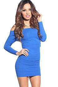 """""""Amara"""" Royal Blue 3/4 Sleeve Off Shoulder Bodycon Mini Dress"""