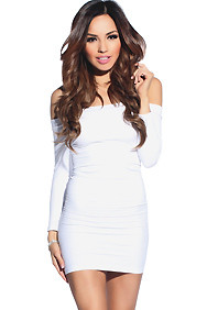 """Amara"" White 3/4 Sleeve Off Shoulder Bodycon Mini Dress"