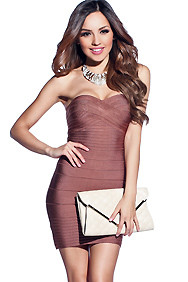 Simple Brown Strapless Bandage Dress
