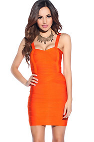 Sexy Bright Orange Bandage Dress