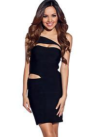 Sexy Black Diagonal Cut-Out Bandage Dress