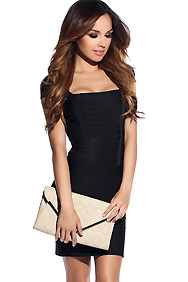 Sexy Black Cut-Out Shoulder Bandage Dress