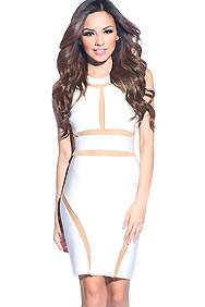 Sexy White Collar Cut-Out Bandage Dress